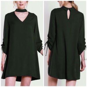 💎 mustard seed // olive green mini dress